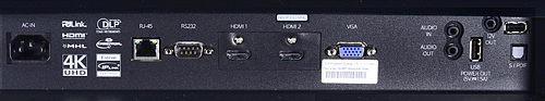 Optoma UHD65 Rear Connection Panel