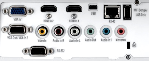 Optoma ZW300UST connection panel