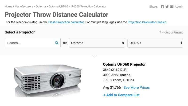 New Updates Arrive For Projectorcentral Throw Calculator